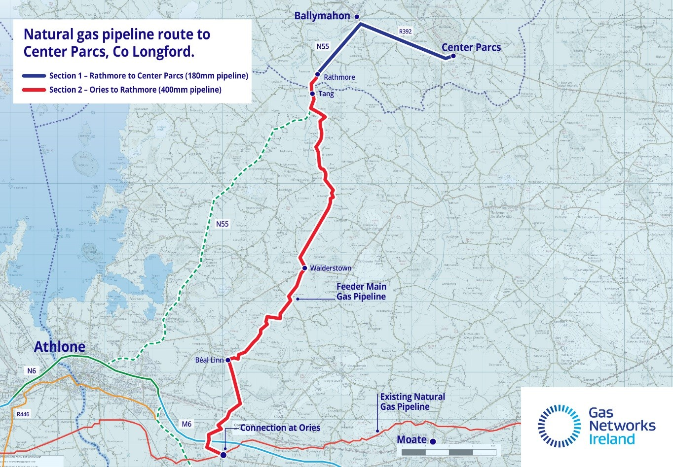 Map Of Ireland Longford.Work Begins On Natural Gas Pipeline To Center Parcs County Longford